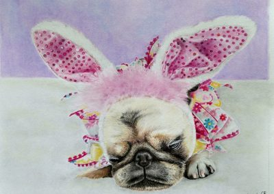 """Pearl the Easter Bunny Pug"""