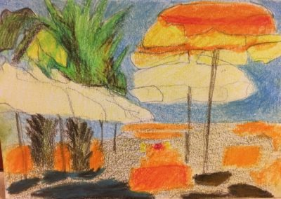 """Italy palms and beach umbrellas"""